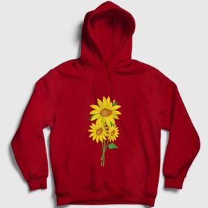 Ayçiçeği Kapşonlu Sweatshirt kırmızı