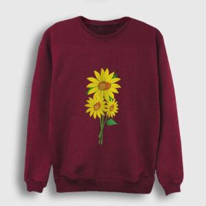 Ayçiçeği Sweatshirt bordo