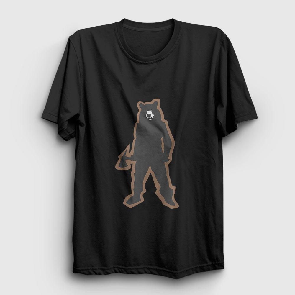 ayı tişört baltalı ayı siyah