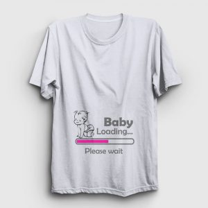 Baby Loading Please Wait Tişört – Pembe Bar beyaz