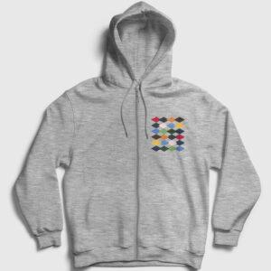 Baklava Desenli Fermuarlı Kapşonlu Sweatshirt gri kırçıllı
