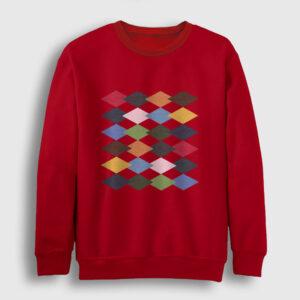 Baklava Desenli Sweatshirt kırmızı