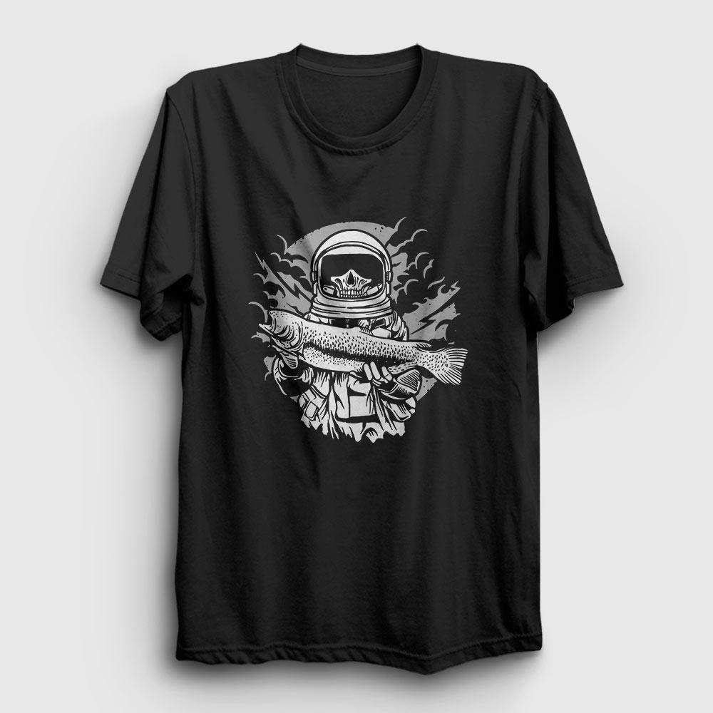 balıkçı astronot tişört siyah