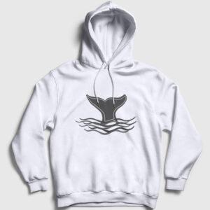 Balina Kapşonlu Sweatshirt beyaz