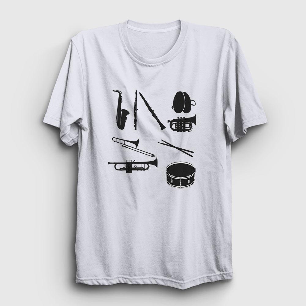 Bando Tişört müzik enstrümanları beyaz