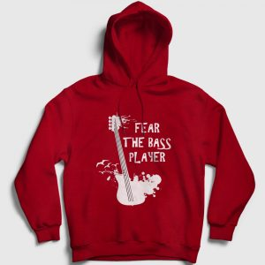 Bas Gitar Kapşonlu Sweatshirt – Fear The Bass Player kırmızı