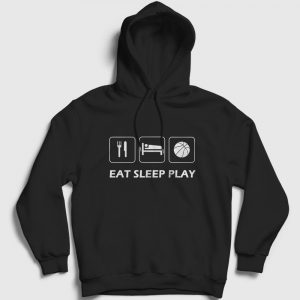 Basketbol Kapşonlu Sweatshirt Eat Sleep Play siyah