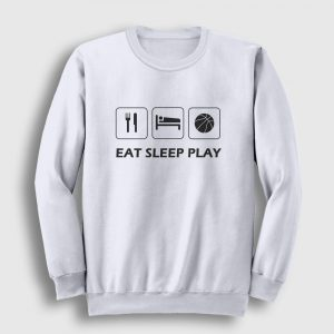Basketbol Sweatshirt Eat Sleep Play beyaz