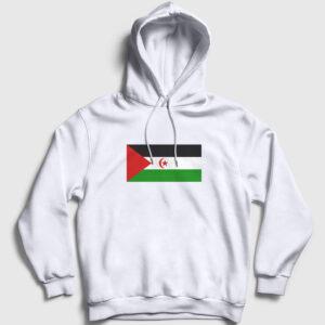 Batı Sahra Bayrağı Kapşonlu Sweatshirt beyaz