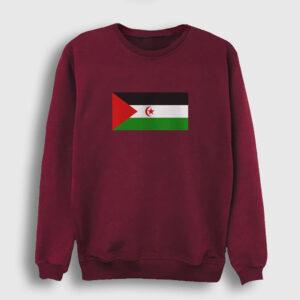 Batı Sahra Bayrağı Sweatshirt bordo