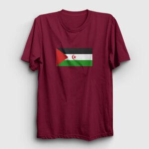 Batı Sahra Bayrağı Tişört bordo