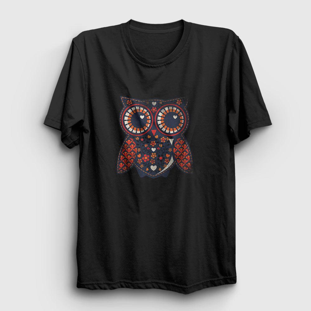 baykuş tişört siyah