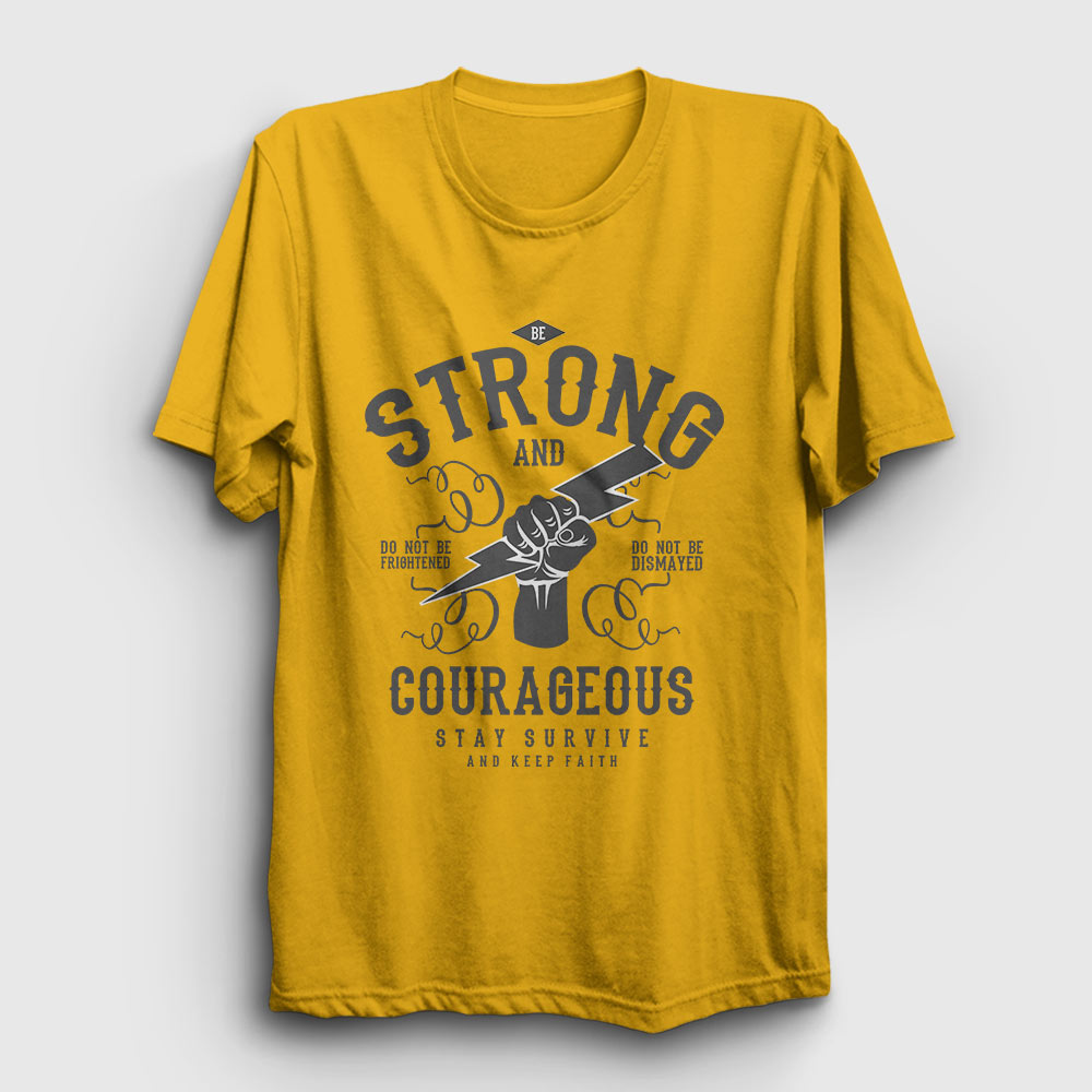 be strong tişört sarı