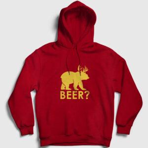 Beer Kapşonlu Sweatshirt kırmızı
