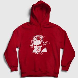 Beethoven Kapşonlu Sweatshirt kırmızı