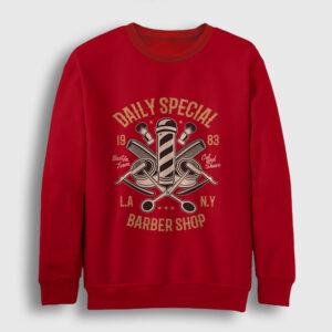 Berber Dükkanı Sweatshirt kırmızı
