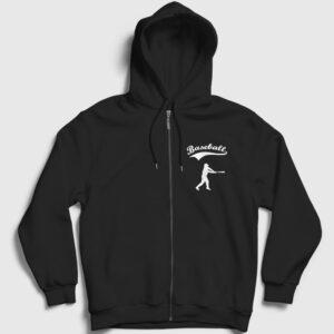 Beyzbol Fermuarlı Kapşonlu Sweatshirt siyah