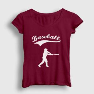 Beyzbol Kadın Tişört bordo