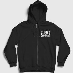 Bilek Güreşi Fermuarlı Kapşonlu Sweatshirt siyah