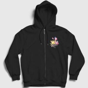 Bir Demet Gül Fermuarlı Kapşonlu Sweatshirt siyah