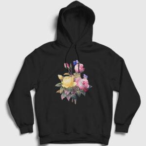 Bir Demet Gül Kapşonlu Sweatshirt siyah