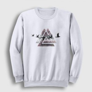 Birds of Triangle Sweatshirt beyaz