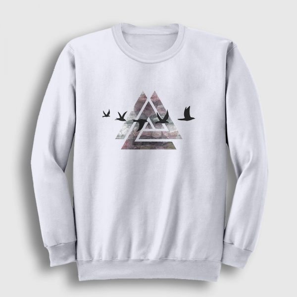 Birds of Triangle Sweatshirt beyaz