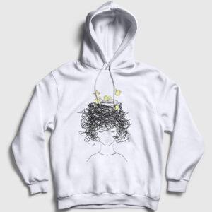 Birds on my Head Kapşonlu Sweatshirt beyaz
