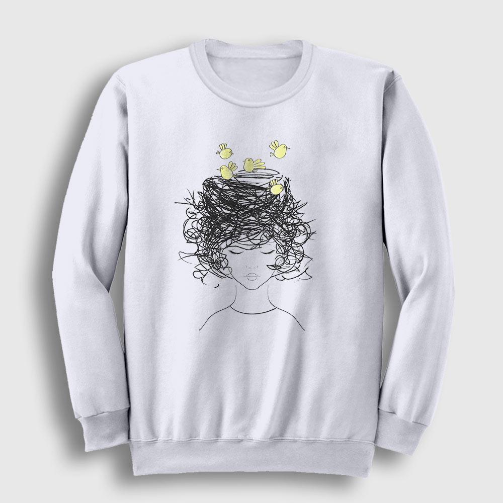 Birds on my Head Sweatshirt beyaz