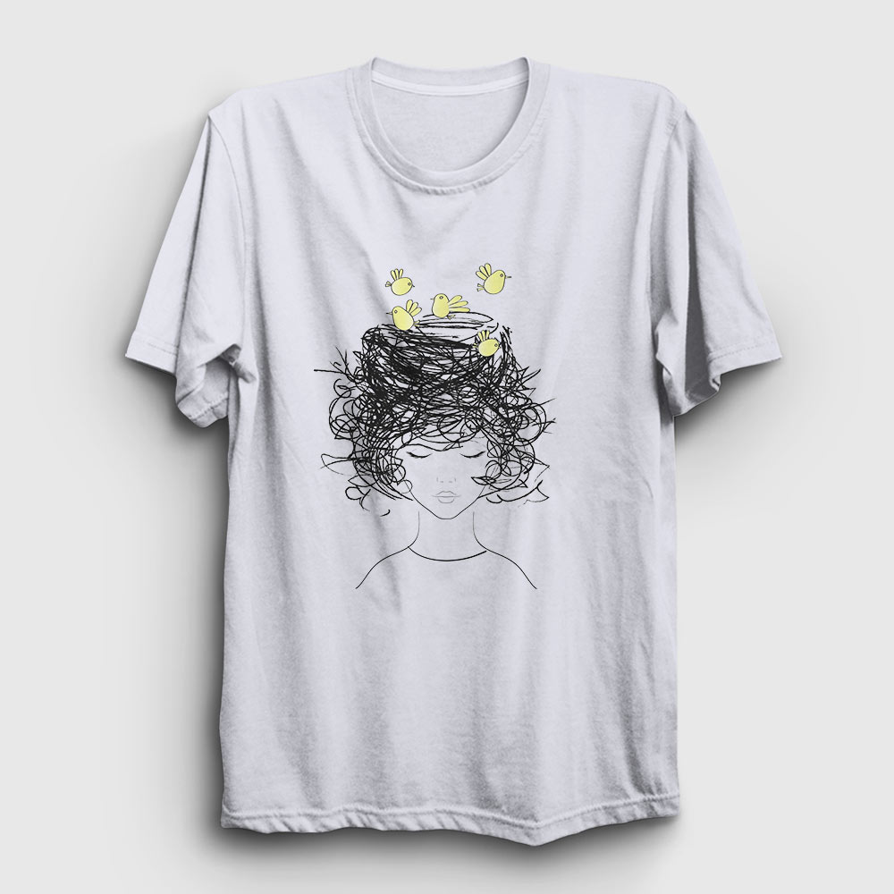 Birds on my Head Tişört beyaz
