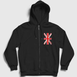 Birleşik Krallık İngiltere Fermuarlı Kapşonlu Sweatshirt siyah