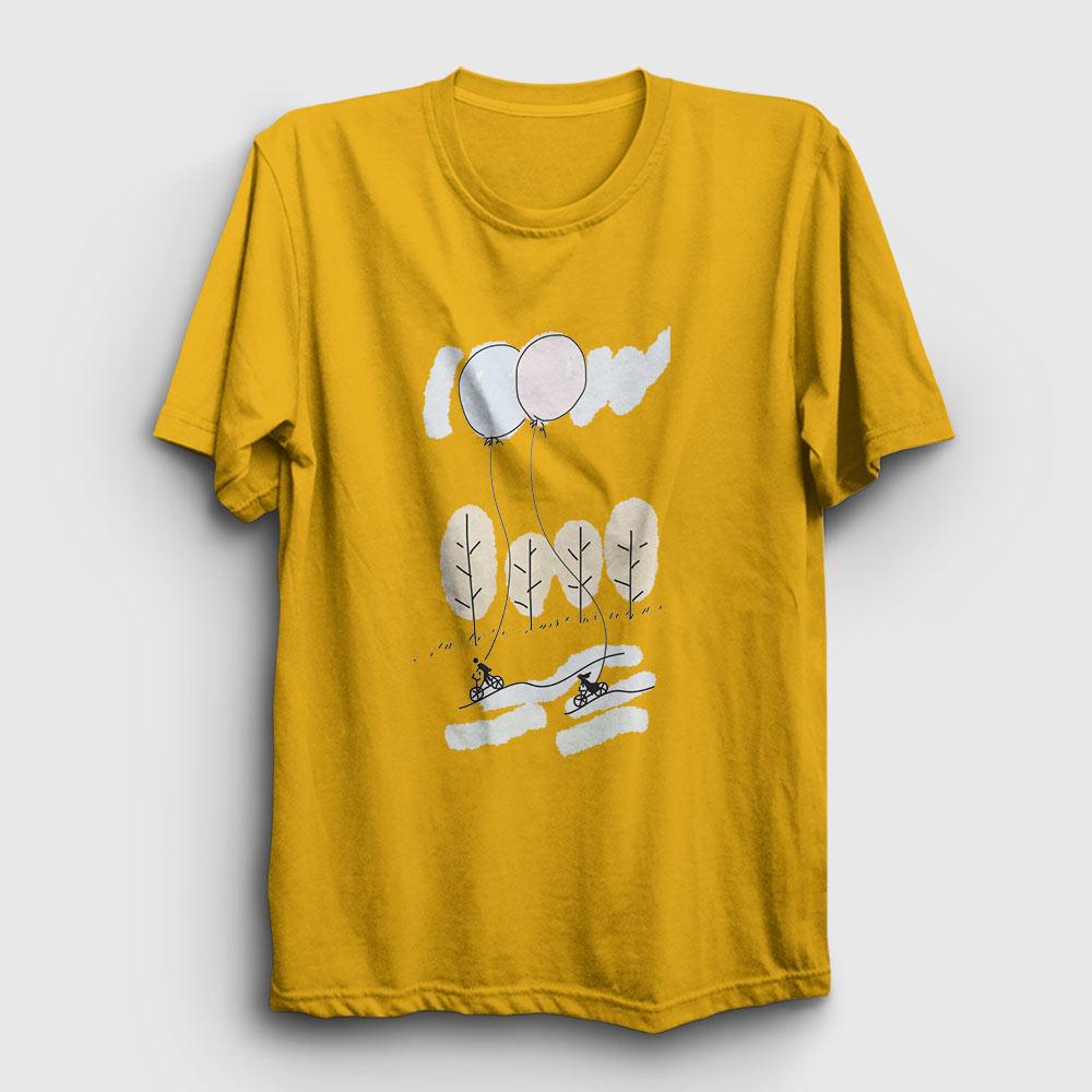 bisikletler ve balonlar tişört sarı