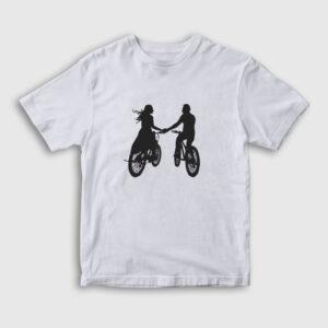 Bisikletli Çift Çocuk Tişört beyaz