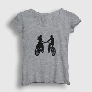 Bisikletli Çift Kadın Tişört gri kırçıllı