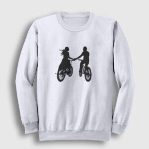 Bisikletli Çift Sweatshirt beyaz