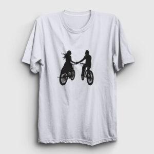 Bisikletli Çift Tişört beyaz