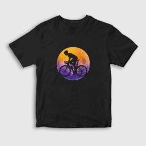 Bisikletli Çocuk Tişört siyah