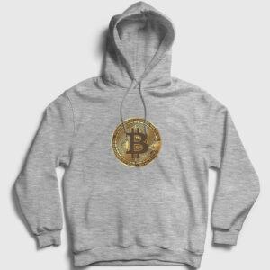 Bitcoin Kapşonlu Sweatshirt gri kırçıllı