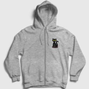 Black Cat Fermuarlı Kapşonlu Sweatshirt gri kırçıllı