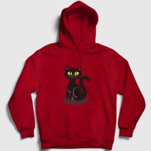 Black Cat Kapşonlu Sweatshirt kırmızı