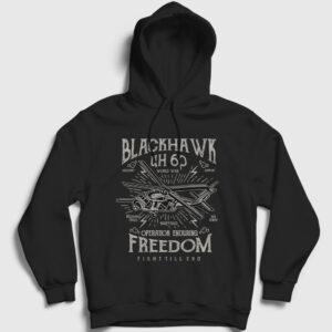Blackhawk Helikopter Kapşonlu Sweatshirt siyah