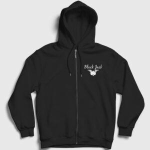 Blackjack Fermuarlı Kapşonlu Sweatshirt siyah
