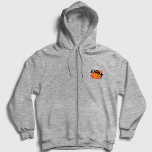 Boomm Fermuarlı Kapşonlu Sweatshirt gri kırçıllı