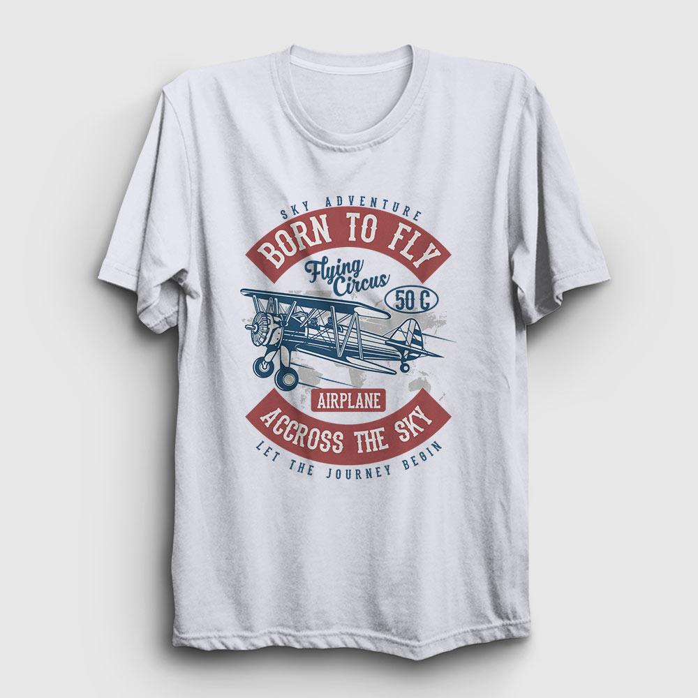 born to fly tişört beyaz