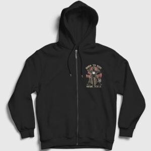 Born To Ride Fermuarlı Kapşonlu Sweatshirt siyah