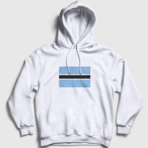 Botsvana Bayrağı Kapşonlu Sweatshirt beyaz