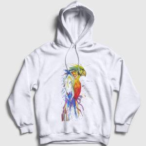Boya Papağan Kapşonlu Sweatshirt beyaz