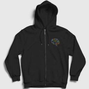 Brain Chain Fermuarlı Kapşonlu Sweatshirt siyah