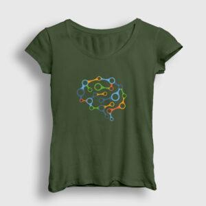 Brain Chain Kadın Tişört haki