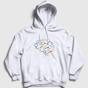 Brain Chain Kapşonlu Sweatshirt beyaz